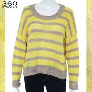360 SWEATER Yellow/Gray Stripe Open Knit Sweater